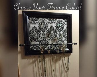Custom Damask Framed jewelry organizer / jewelry holder