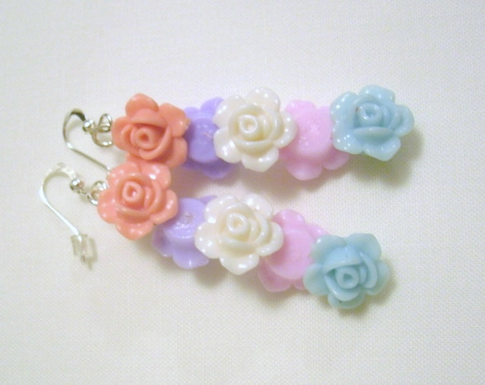 Colorful flower bead earrings, One of a kind, acrylic flower beads in 5 colors, they cannot face the wrong way, silver plated wires, unique