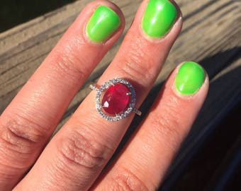 Natural 2.65ct Oval Cut Red Ruby White Sapphire Halo 14k White Gold Plated Sterling Silver Ring