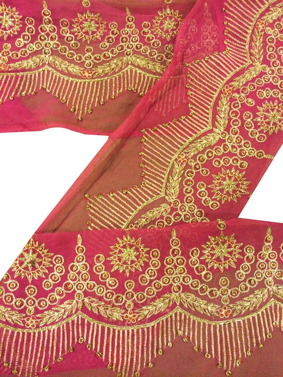 Crafts Vintage Sari Border Antique Hand Beaded Indian Trim Sewing Maroon Lace Wide Selection;