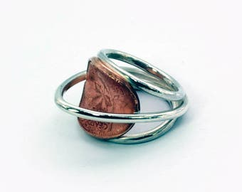 Unique ring, under Canadian Black, since 1964, copper coin, silver ring, reused materials, quality silver jewelry