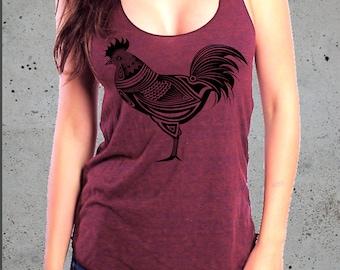 Rooster Shirt-Country Tank Top,CHICKEN Shirt)Rooster-Country Girl Gift,Country Clothing,Chicken Tshirt-Texas Tank,Girlfriend Gift-