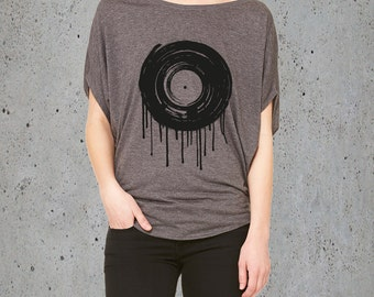 Music Clothing-Womens MELTING VINYL RECORD T Shirt)Hipster,Tumblr Clothing,Graphic TShirt-Tumblr Clothes,Festival Clothes-Girlfriend Gift-