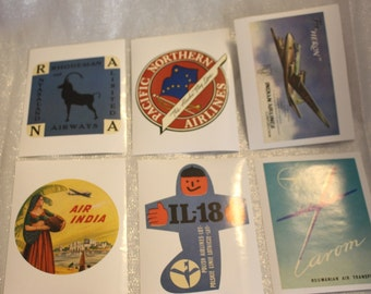 Six Vintage Airline Stickers  Very Rare! Rhodesian, India, Polish, Roumanian, Indian and Alaska Airlines