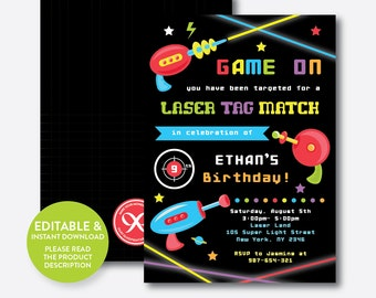 Instand Download, Editable Laser Tag Birthday Invitation, Laser Tag Invitation, Laser Tag Party Invitation, Boy Laser Tag Party (SKB.40)
