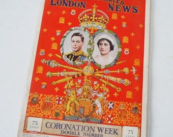 Coronation of King George VI and Queen Elizabeth / Full Color Images and B&W / The Illustrated London News / Coronation Week Double Week