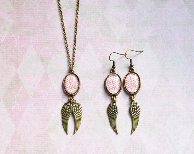 Angel Of Love // Set in retro vintage style // Earrings and Pendant made from metal brass with image under glass // 2015 Best Trends //
