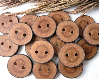 Wooden buttons set of 8, natural rustic wood buttons, cherry tree button, craft supplies, accessories #3