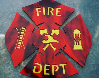 "16"" Metal Fire Fighter Logo"