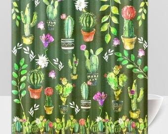 Shower Curtain Cactus / Cacti / Flowers / Colourful / Leaves/ Shower Curtain