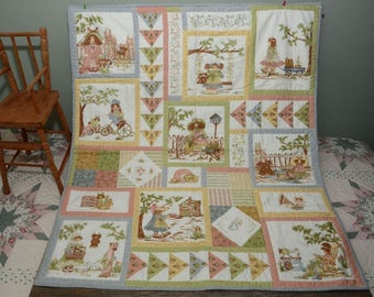 HAND STITCHED PRINTED Baby Quilt