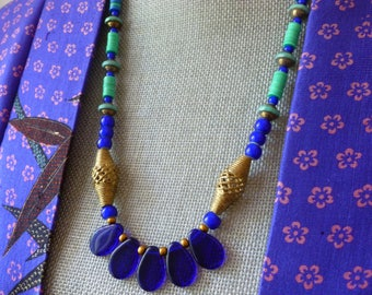 Ethnic Style Necklace, Tribal Style Jewelry. African Trade Bead Necklace, Northernblooms,  Blau Halskette