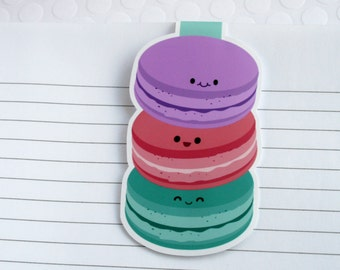 Big Macaron Magnetic Bookmark, Cute Baking Inspired Paper Clip for Planners or Cookbooks, Kawaii Macaron Page Markers for Books and Reading