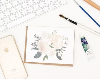 Cream Floral Greeting Card | Floral Greeting Card | Watercolor Floral Greeting Card | Blank Greeting Card