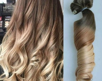 Full Head Dip dye Clip in Hair extensions Ombre Chocolate brown to sandy blonde
