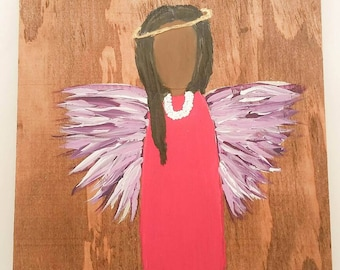 Earth Angel my Guardian Dear, hand painted Angels, Personalised Guardian Angel, child's room, Memorial, purple fusia short black hair