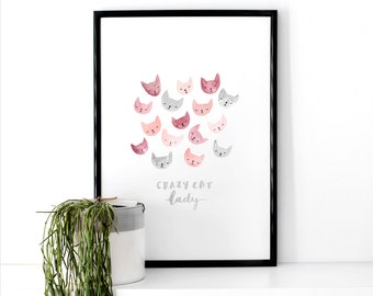 Cat Illustrated Art Print 'Crazy Cat Lady'
