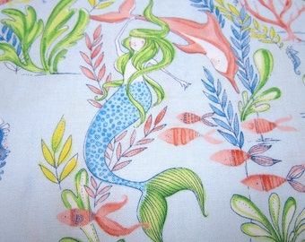 Blue Cotton Mermaid Fabric Called Mermaid Days Designed by Cori Dantini For Blend Fabrics