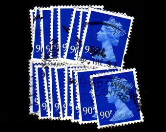 25 used Dark Blue G.B. Postage Stamps