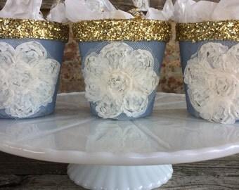 Blue and Gold Favor Pots,  Blush Wedding Decor, Wedding Gift Holder, Baby Shower Favor, Bridal Shower Favor