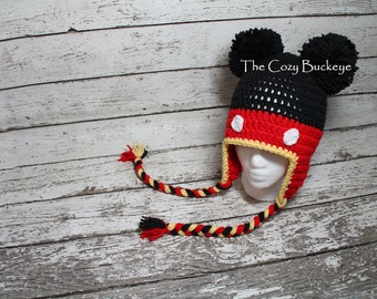 Mickey Mouse Hat Disney Character Hat Winter Hat Sizes Newborn to Adult