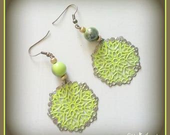 boho earrings - filigree lime earrings - handmade original earrings