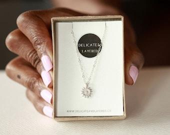 Silver Sunflower Necklace, Sunflower Necklace, Sunflower Charm Necklace, Flower Necklace, Sterling Flower, Petite Flower, Tiny Flower