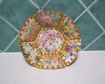 Hand Made Vintage Bowl Made From Vintage Cards  - Flowers - Dressing Table - 1950's - Easter Basket