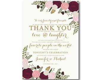 Vintage Wedding Thank You Card, Fall Wedding, Vintage Floral, Floral Wedding, Vintage Wedding, Wedding Thanks, Thank You Card #CL157