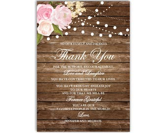Thank You Note Template, DIY Wedding Thank You, Wedding Thank You Card, Printable Thank You, INSTANT DOWNLOAD Microsoft Word #CL102