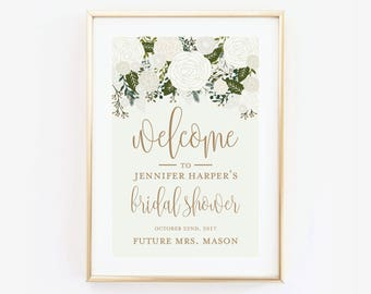 Bridal Shower Welcome Sign, Welcome Poster, Printed Bridal Shower Welcome Sign, Large Bridal Welcome Sign, Canvas or Large Art Print #CL112
