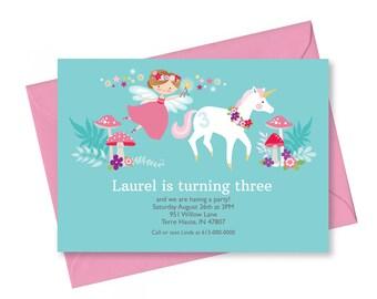 Unicorn Fairy Invitation, Printable, Customized text, DIY invitation, Girl's Unicorn Fairy Party, Floral Unicorn Fairy Invite