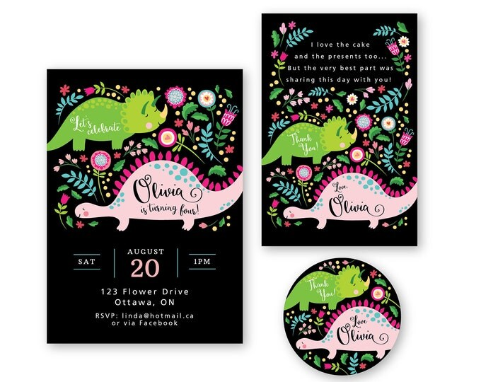 Girl's Dinosaur Invitation, Thank You & Favor Tags / Pink Dinosaur / Printable, Customized, DIY / Party Package / Cute Dinosaurs
