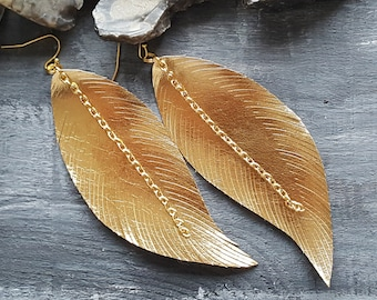 Gold Metallic Leather Earrings Vegan Leather Feather Earrings Faux Leather Earrings Boho Earrings Extra Large Feather Bohemian Earrings