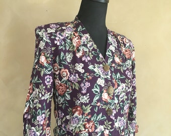 Vintage 80's Floral Dress With Gold Buttons