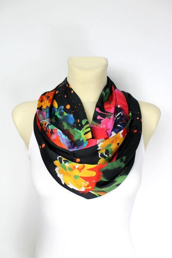 Rainbow Satin Scarf - Colorful Loop Scarf - Watercolor Scarf - Geometric Loop Scarf - Printed Loop Scarf - Silk Loop Scarf - Birthday Gift