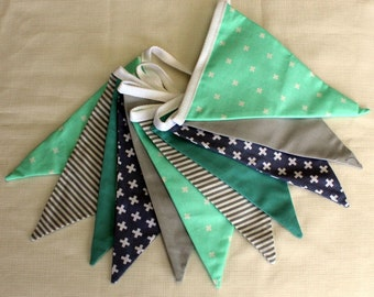 Mint and Grey Double-sided 11 Flag Modern Fabric Bunting, 208 cm long.