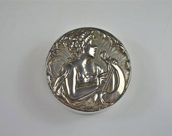 Original Art Nouveau pill box maiden playing a harp silver plated circa.1900
