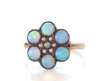 SALE   Vintage Opal Ring   Ostby & Barton   Halo   Cluster   Flower   Item 83016