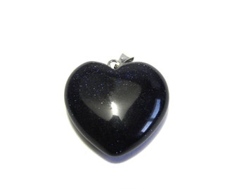 Real Gemstone Heart Pendant 25mm - Blue Goldstone (1 pc.)