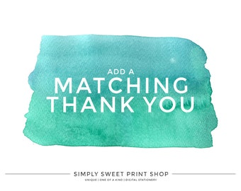 THANK YOU CARD - Add A Matching Thank You Card To Any Invitation In Our Shop