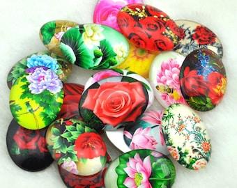 4pcs 30x40mm Oval Handmade Photo Glass Cabochon  -lotus\Rose Flower -A04