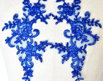 Royal Blue Floral Lace Applique Pair of Fabric Patches - More Colours