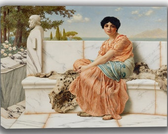 John William Godward: Reverie (In the Days of Sappho). Fine Art Canvas. (04050)
