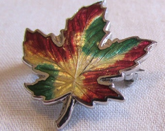 Enameled Sterling Silver Maple Leaf Pin