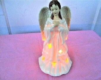 Vintage Angel Tealight Holder, Ceramic Angel Tealight Holder, Vintage Angel Figurine