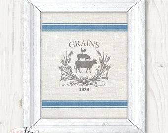 Farmhouse Wall Art, Farmhouse Sign, Farmhouse Decor, Grain Sack, Kitchen Art, Rustic Wall Decor, Farmhouse Printable, Digital Art Print