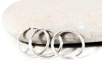 Single Sleeper Hoop Earring. Endless Hoop Earring. Sterling Silver Endless Hoop Earrings. Men's Simple Hoop. Minimalist Jewelry By GSminimal