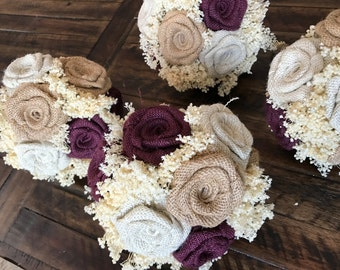 Burlap Bridesmaids Bouquets in Wine, Natural, and Ivory : Burlap Wedding Bouquets, Rustic Bouquets, Wedding Bouquets, Burlap Flowers,Bouquet