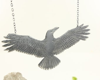 Raven necklace - Crow necklace - Sterling silver necklace - Handmade